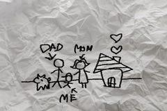 Child& x27; s que dibuja a la familia feliz Imagen de archivo