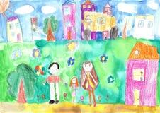 Child& x27; s que dibuja a la familia feliz, edificio, coche Imágenes de archivo libres de regalías