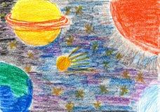 Child& x27; s que dibuja la Sistema Solar Imagen de archivo libre de regalías