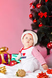 Child with xmas decoration Stock Images