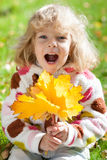 Child with yellow maple leaves Royalty Free Stock Images