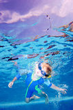 Child or young boy holding breath underwater. Child or young boy holding breath and looking at camera as seen from underwater Stock Photos