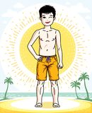 Child young teen boy cute standing in colorful stylish beach sho. Rts. Vector human illustration. Fashion theme clipart Stock Image