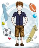 Child young teen boy cute standing in stylish casual clothes. Ve. Ctor attractive kid illustration. Childhood lifestyle clip art Royalty Free Stock Photography