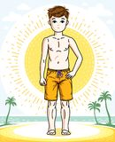 Child young teen boy cute standing wearing fashionable beach sho. Rts. Vector attractive kid illustration. Fashion and lifestyle theme cartoon Royalty Free Stock Images