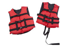 Child and youth life vests isolated on white. Red child and youth life vests isolated on a white background stock photos