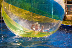 Child in the zorb Stock Photo