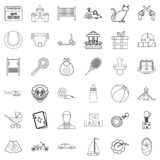 Childbearing icons set, outline style. Childbearing icons set. Outline style of 36 childbearing vector icons for web isolated on white background Stock Photography