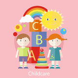 Childcare concept. Kids playing construction in the room. Concept of childcare in flat design style. Can be used for web banners, marketing and promotional vector illustration