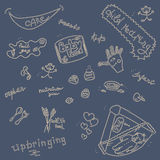 Childcare Doodle Icon Set On Blue. Royalty Free Stock Photos