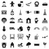 Childcare icons set, simple style. Childcare icons set. Simple style of 36 childcare vector icons for web isolated on white background stock illustration