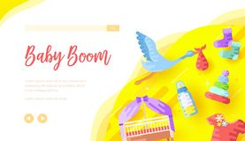 Childcare products Internet shop landing page template. Stork carrying bag illustration with text space. Baby boom cursive lettering. Kids toys, clothing royalty free illustration