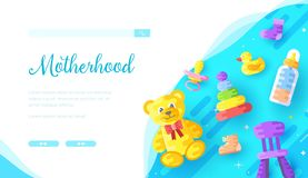 Childcare products online store landing page template. Internet toy shop vector web banner. Motherhood, parenting informative website homepage design. Infant stock illustration