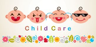 Childcare vector illustration with babies showing different emotions, vector flat style design. stock illustration
