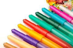 Childden color pens and drawing creativity background stock images