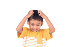 Childe asian little boy scratching head Stock Photos