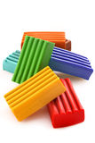 Childen bright coloured plasticine set chaotically Stock Image