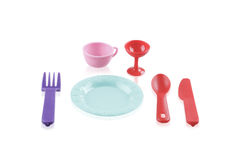 Childens plastic tableware toys Royalty Free Stock Photography