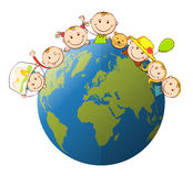 Childern globe Royalty Free Stock Photos