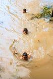 Childern simmar i kanalen Royaltyfria Foton