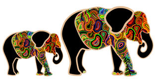 Childhood. Family of elephants from the color elements on a white background Stock Image