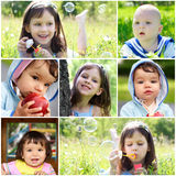 Childhood. Collage of beautiful children outdoors Royalty Free Stock Images