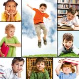 Childhood. Collage of portraits of different schoolkids Stock Photography