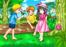 Childhood. Cartoon illustration of two boys with a girl Stock Photos