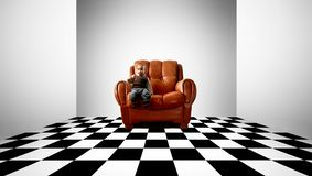 Childhood 5. A arm-chair and a child Stock Photo