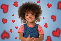 Free Childhood And People Concept- Smiling African American Little Girl, Over Colored Background With Hearts Stock Photo - 187983930