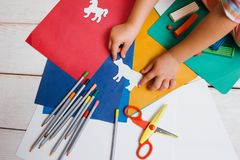 Childhood art. Early children education Stock Photo
