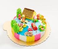 Kid birthday cake isolated on white  Stock Photography