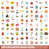 100 childhood book icons set, flat style. 100 childhood book icons set in flat style for any design vector illustration Stock Photography