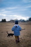 Childhood. A boy with a cat Royalty Free Stock Photo