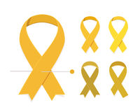 Childhood cancer awareness. Concept Set of five gold vector flat ribbons  on white background Stock Image