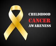 Childhood Cancer Awareness gold ribbon background Stock Photography