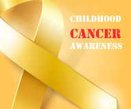 Childhood Cancer Awareness gold ribbon background Stock Image