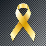 Childhood Cancer Awareness  gold ribbon. Gold ribbon with transparent shadow. Childhood Cancer Awareness  design element  on dark background Royalty Free Stock Photos