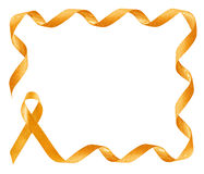 Childhood Cancer Awareness golden Ribbon frame. With copy space royalty free stock photo