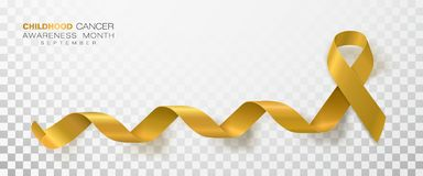 Free Childhood Cancer Awareness Month. Gold Color Ribbon Isolated On Transparent Background. Vector Design Template For Stock Images - 145485904