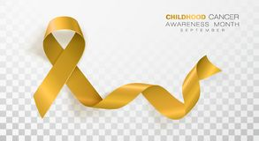Free Childhood Cancer Awareness Month. Gold Color Ribbon Isolated On Transparent Background. Vector Design Template For Stock Photo - 148110010