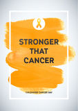 Childhood Cancer Awareness Poster. Yellow Brush Strokes and Frame Illustrate the Problem. Childhood cancer awareness symbol Stock Photo