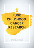 Childhood Cancer Awareness Poster. Yellow Brush Strokes and Frame Illustrate the Problem. Childhood cancer awareness symbol.  Royalty Free Stock Photography