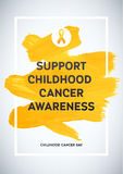 Childhood Cancer Awareness Poster. Yellow Brush Strokes and Frame Illustrate the Problem. Childhood cancer awareness symbol Royalty Free Stock Photos