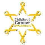 Childhood Cancer Awareness Ribbon Circle. Conceptual image for childhood cancer awareness with golden ribbons Royalty Free Stock Photo