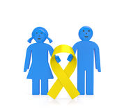 Childhood Cancer Day. International Childhood Cancer Day concept. Awareness warning illustration. Boy and girl with golden yellow ribbon as symbol of 15 February Stock Photography