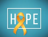 Childhood cancer day. Poster for childhood cancer awareness day with symbol realistic yellow ribbon, vector illustration Stock Photography