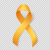 Childhood cancer day. Realistic gold ribbon, childhood cancer awareness symbol, isolated over transparent background, vector illustration Stock Photo