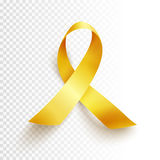 Childhood cancer day. Realistic gold ribbon, childhood cancer awareness symbol, vector illustration Stock Photos