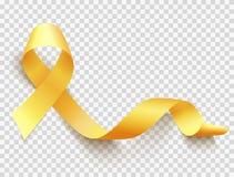 Childhood cancer day. Realistic gold ribbon, childhood cancer awareness symbol, vector illustration stock illustration